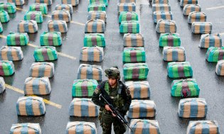 """A Colombian member of a police anti-drugs unit stands guard next to marijuana packages displayed to the press, on March 26, 2013, in Cali, department of Valle del Cauca, Colombia. Police seized 7.7 tons of marijuana during the operation """"Republica 39"""", carried out between the municipalities of Tulua and Buga, who belonged to the Revolutionary Armed Forces of Colombia (FARC) guerrillas. The Director General of the National Police of Colombia, General Jose Roberto Leon Riano, said that 80 tons of marijuana and 36 tons of cocaine have been seized so far this year. AFP PHOTO/Luis ROBAYO (Photo credit should read LUIS ROBAYO/AFP/Getty Images)"""